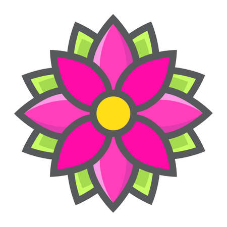 Flower Astra filled outline icon, easter and holiday, nature sign vector graphics, a colorful line pattern on a white background, eps 10.