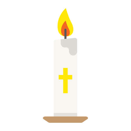 Easter candle flat icon, easter and holiday, flame sign vector graphics, a colorful solid pattern on a white background, eps 10. Иллюстрация
