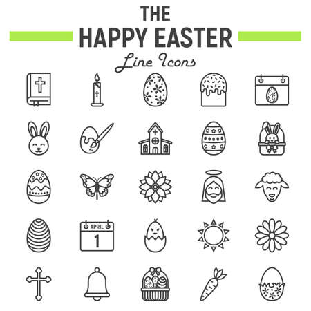 Happy Easter lijn icon set, vakantie symbolen collectie, vector schetsen, logo illustraties, viering tekenen lineaire pictogrammen pictogram geïsoleerd op een witte achtergrond.