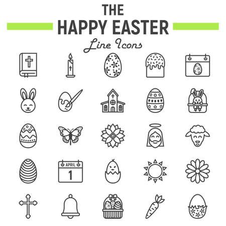 Insieme dell'icona della linea di Pasqua felice, raccolta di simboli di festa, schizzi di vettore, illustrazioni di logo, pacchetto lineare dei pittogrammi dei segni di celebrazione isolato su fondo bianco. Archivio Fotografico - 94598884