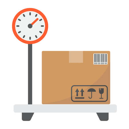 Box on storage scale flat icon, logistic and delivery, platform scale sign vector graphics, a colorful solid pattern on a white background