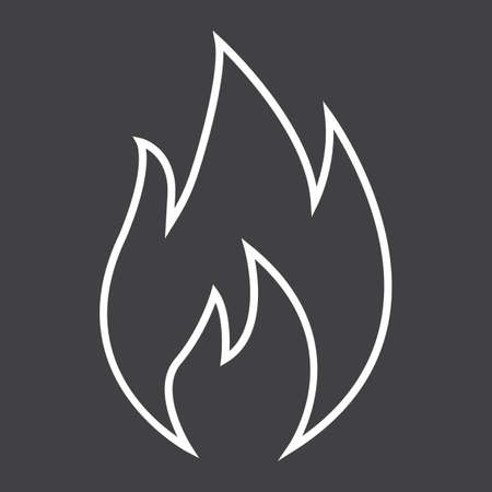 Flammable symbol line icon, logistic and delivery, fire sign vector graphics, a linear pattern on a black background