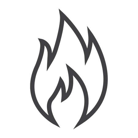 Flammable symbol line icon