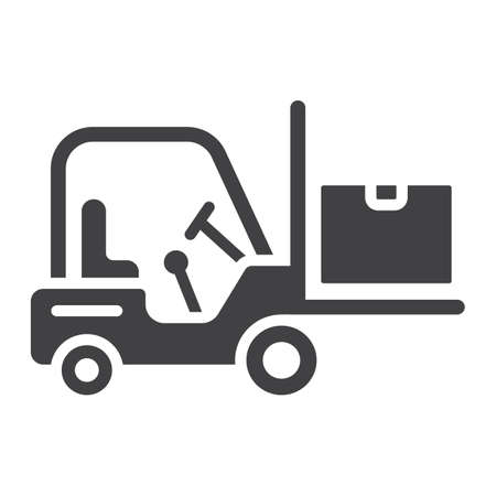 Forklift delivery truck glyph icon, logistic and delivery, cargo vehicle sign vector graphics, a solid pattern on a white background