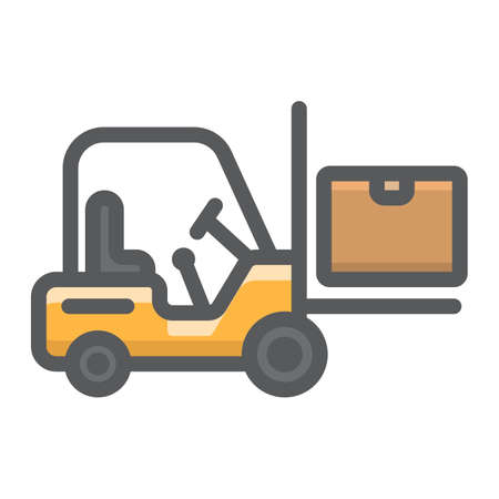Forklift delivery truck filled outline icon, logistic and delivery, cargo vehicle sign vector graphics, a colorful line pattern on a white background, eps 10.