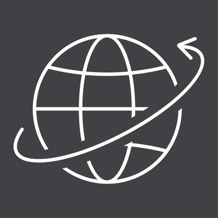 Worldwide shipping line icon, logistic and delivery, around world sign vector graphics, a linear pattern on a black background, eps 10.
