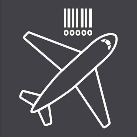 Air freight line icon, logistic and delivery, air cargo sign vector graphics, a linear pattern on a black background Illustration