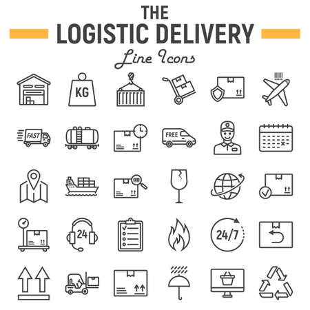 Logistic line icon set, Delivery symbols collection, vector sketches, illustrations, shipping signs linear pictograms package isolated on white background Illustration