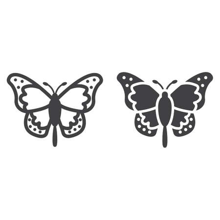 Butterfly line and glyph icon, easter and holiday, insect sign vector graphics, a linear pattern on a white background, eps 10. 矢量图像