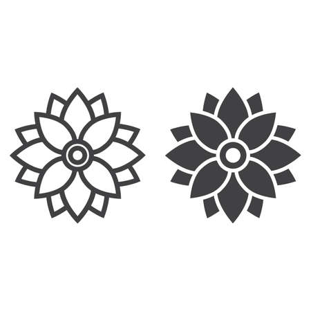 Flower Astra line and glyph icon, easter and holiday, nature sign vector graphics, a linear pattern on a white background, eps 10.