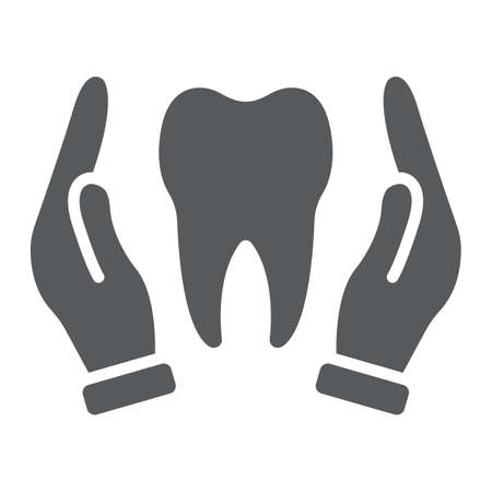 Hands holding tooth glyph icon, stomatology and dental, dental care sign vector graphics, a solid pattern on a white background, eps 10.