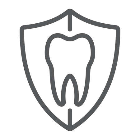 Dental protection line icon, stomatology and dental, tooth in shield sign vector graphics, a linear pattern on a white background, eps 10.