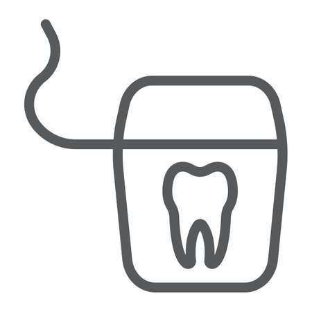 Dental floss line icon, stomatology and dental, clean sign vector graphics, a linear pattern on a white background, eps 10.