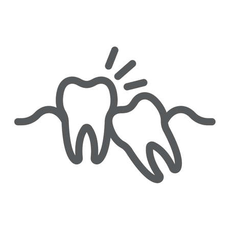 Wisdom teeth line icon, stomatology and dental, impacted tooth sign vector graphics, a linear pattern on a white background, eps 10.