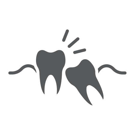 Wisdom teeth glyph icon, stomatology and dental, impacted tooth sign vector graphics, a solid pattern on a white background, eps 10.