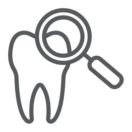 Dental check up line icon, stomatology and dental, magnifying sign vector graphics, a linear pattern on a white background, eps 10.