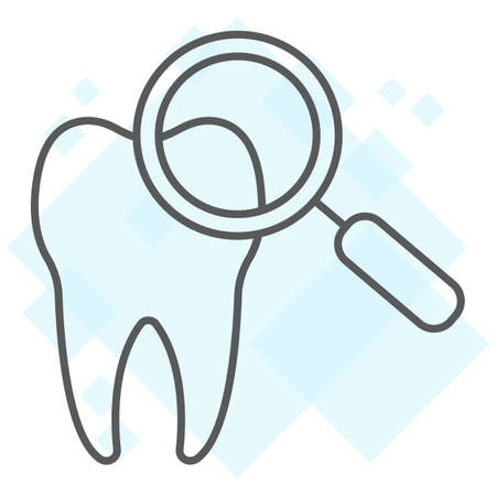 Dental check up thin line icon, stomatology and dental, magnifying sign vector graphics, a linear pattern on a white background, eps 10. Illustration