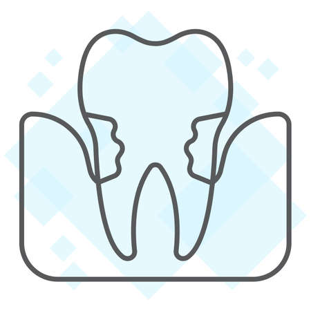 Periodontitis thin line icon, stomatology and dental, periodontal tooth sign vector graphics, a linear pattern on a white background