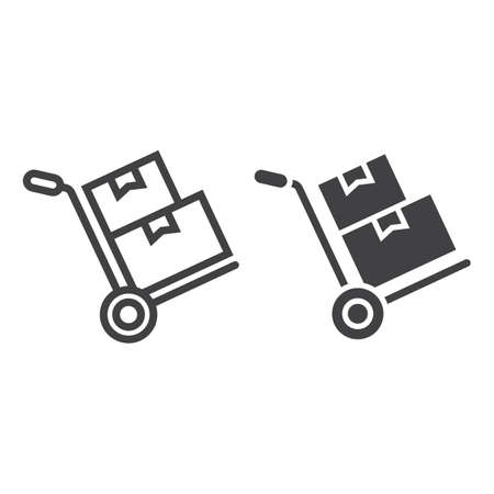 Hand truck with cardboard boxes icon