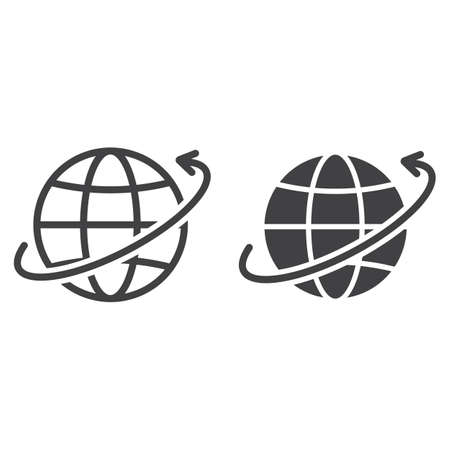 Worldwide shipping line and glyph icon, logistic and delivery, around world sign vector graphics, a linear pattern on a white background, eps 10.
