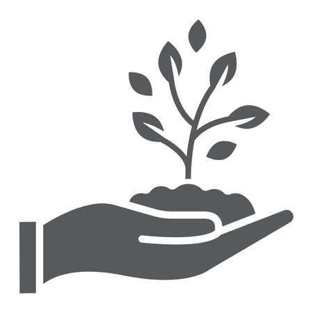 Sprout in hand glyph icon, farming and agriculture, plant care sign vector graphics illustration