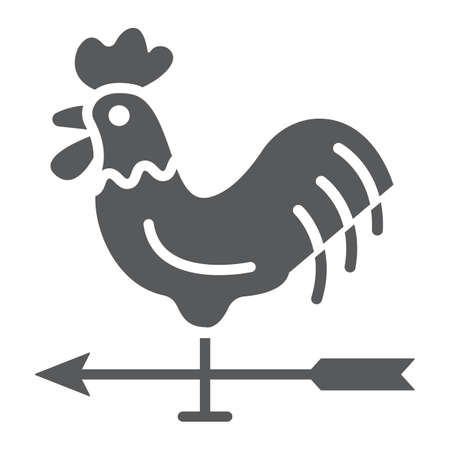 Rooster weather vane glyph icon 向量圖像