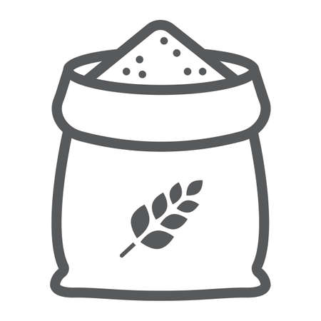 Bag of wheat line icon