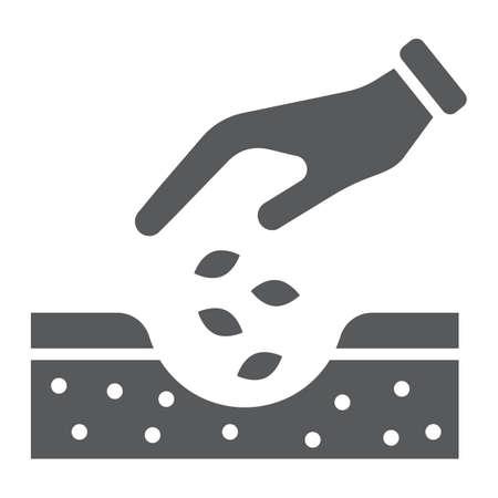 Mains plantant l'icône de glyphe de graines