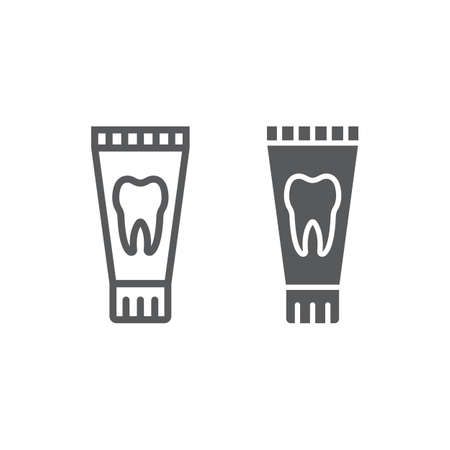 Toothpaste tube line and glyph icon, stomatology and dental, clean sign vector graphics, a linear pattern on a white background