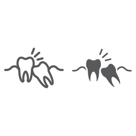 Wisdom teeth line and glyph icon, stomatology and dental, impacted tooth sign vector graphics, a linear pattern on a white background.