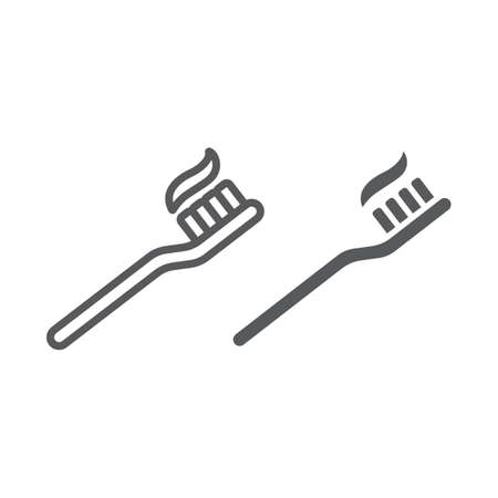 Toothbrush line and glyph icon, stomatology and dental, care sign vector graphics, a linear pattern on a white background.  イラスト・ベクター素材