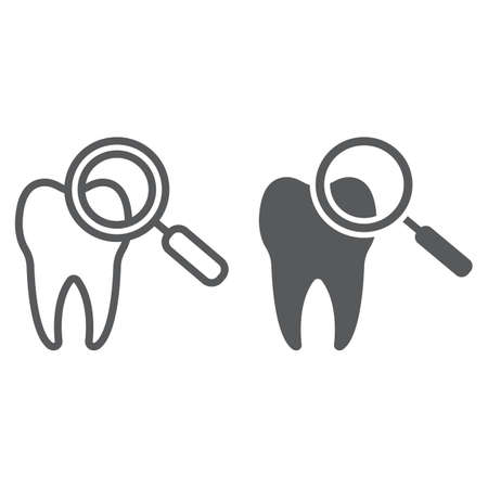 Dental check up line and glyph icon, stomatology and dental, magnifying sign vector graphics.