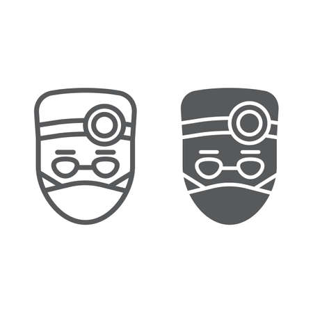 Doctor line and glyph icon, stomatology and dentist, medical sign vector graphics, a linear pattern on a white background, eps 10.