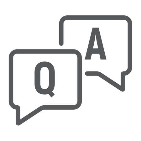 Question and answer line icon, e learning and education.