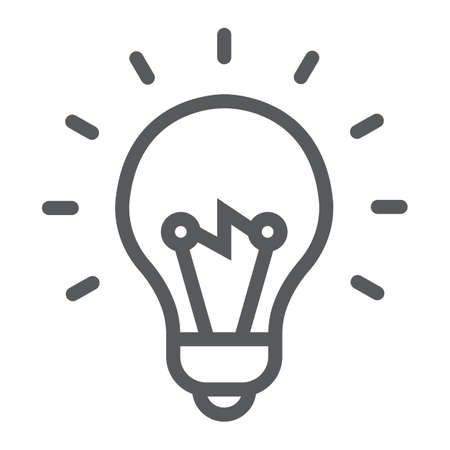 Light Bulb line icon, e learning and education, smart idea sign vector graphics.