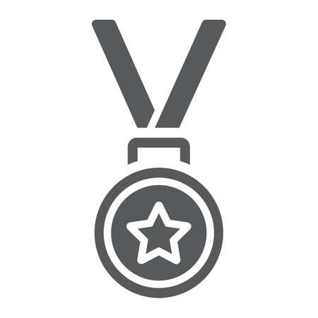 Medal glyph icon, trophy and award, best student sign vector graphics. Illusztráció