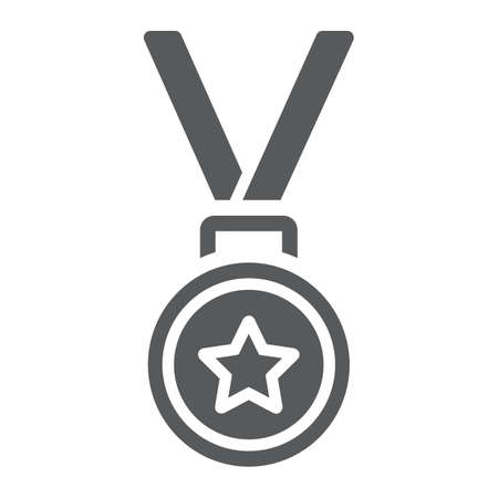 Medal glyph icon, trophy and award, best student sign vector graphics. Illustration