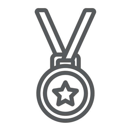 Medal line icon, trophy and award, best student sign vector graphics.
