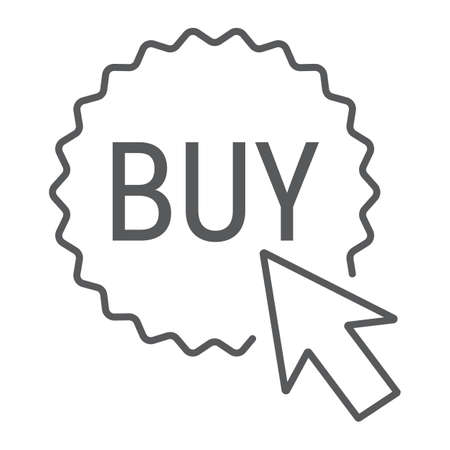 Buy now button thin line icon, e commerce and marketing, shop sign vector graphics, a linear pattern on a white background.