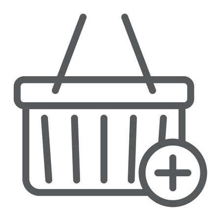 Add to cart line icon, e commerce and marketing, retail box sign vector graphics, a linear pattern on a white background.