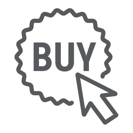 Buy now button line icon, e commerce and marketing, shop sign vector graphics, a linear pattern on a white background.