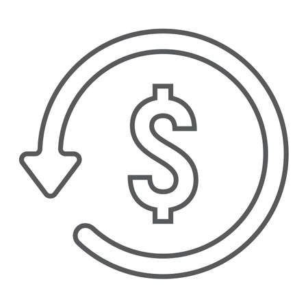Chargeback thin line icon, e commerce and marketing, return on investment sign vector graphics, a linear pattern on a white background.
