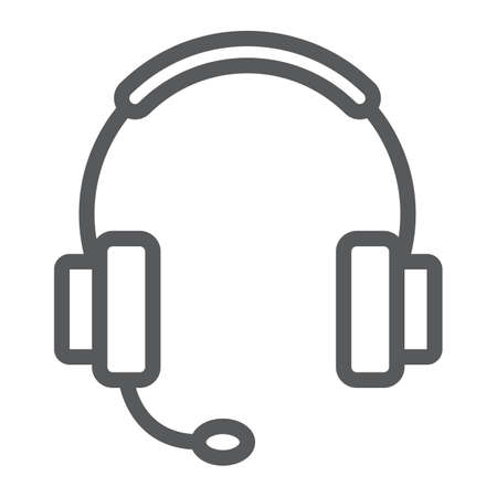 Tech support line icon, e commerce and marketing, headset sign vector graphics, a linear pattern on a white background.