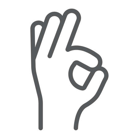 Gesture okay line icon, e commerce and marketing, best choice sign vector graphics, a linear pattern on a white background, eps 10. Illustration
