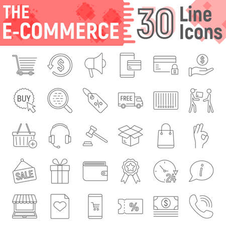 E commerce thin line icon set, Online store symbols collection, vector sketches, logo illustrations, internet shopping signs linear pictograms package isolated on white background, eps 10.