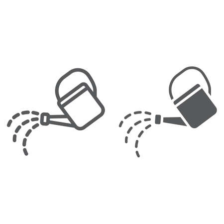 Watering can line and glyph icon