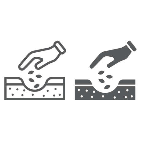 Hands planting seeds line and glyph icon Illustration