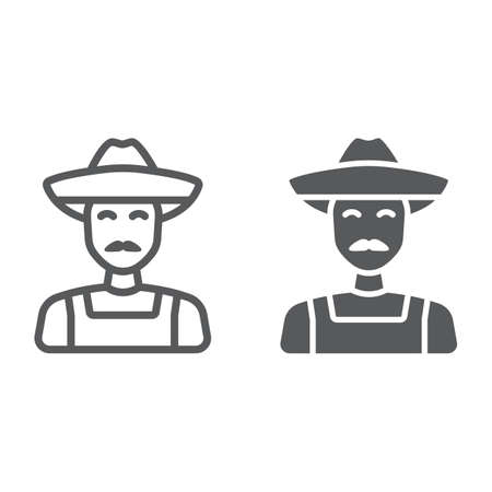 Farmer line and glyph icon, farming and agriculture, farm man sign vector graphics. A linear pattern on a white background.