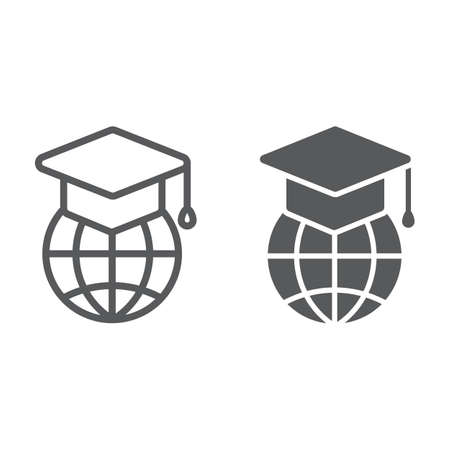 Global education line and glyph icon, e learning and education, graduation cap on globe sign vector graphics. A linear pattern on a white background.