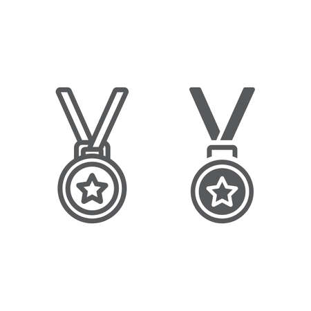 Medal line and glyph icon, trophy and award, best student sign vector graphics. A linear pattern on a white background.